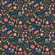 Lewis & Irene Cheiveley - 5628  - Coral and Gold Floral on Blue (Metallic) - A241.3 - Cotton Fabric
